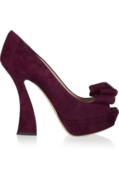 09d0a3fea16 Miu Miu. Bow-embellished suede peep-toe pumps