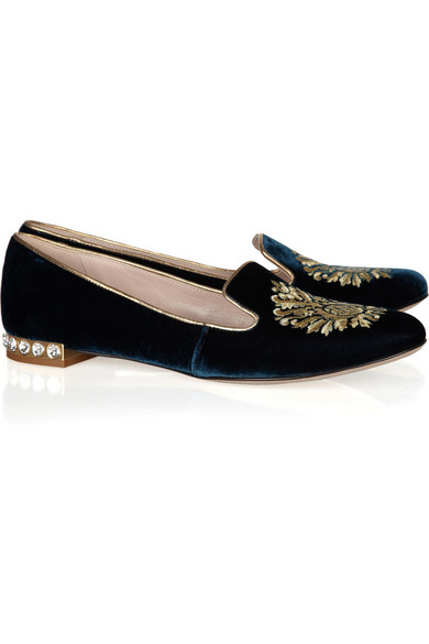 Embroidered velvet loafers Miu Miu glcBW7AsSQ