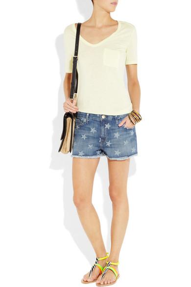 d2736dcc783 Current/Elliott. The Boyfriend star-print low-rise stretch-denim shorts