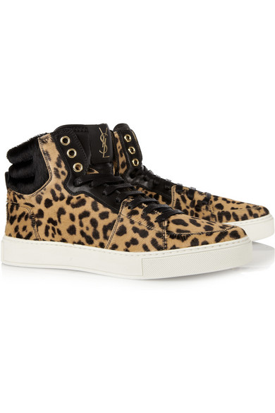 fd8fcd334ad Yves Saint Laurent   Malibu leopard-print calf-hair sneakers   NET-A ...