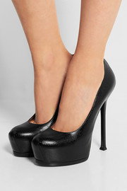 Tribute Two textured-leather pumps