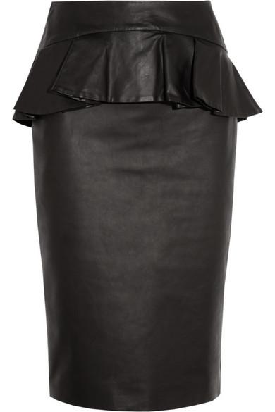 mcqueen leather peplum pencil skirt net a