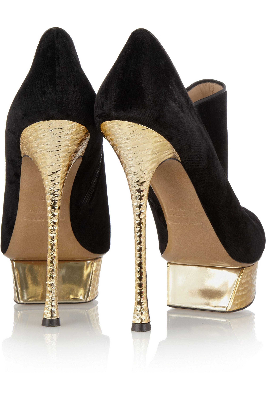 Nicholas Kirkwood Velvet and hammered metallic leather ankle boots