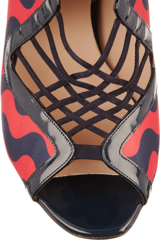 Nicholas Kirkwood Patent leather-trimmed satin sandals