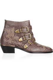 Studded python ankle boots