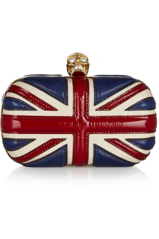 Alexander McQueen The Britannia Skull leather box clutch