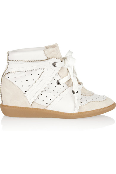 1666e7c180b Isabel Marant. Betty leather and suede wedge sneakers