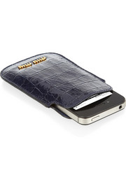 Miu Miu Croc-effect glossed-leather iPhone sleeve
