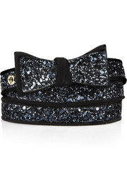 Miu Miu Glitter-finished cotton-blend and suede belt