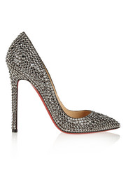 Christian Louboutin Pigalle 120 crystal-embellished suede pumps