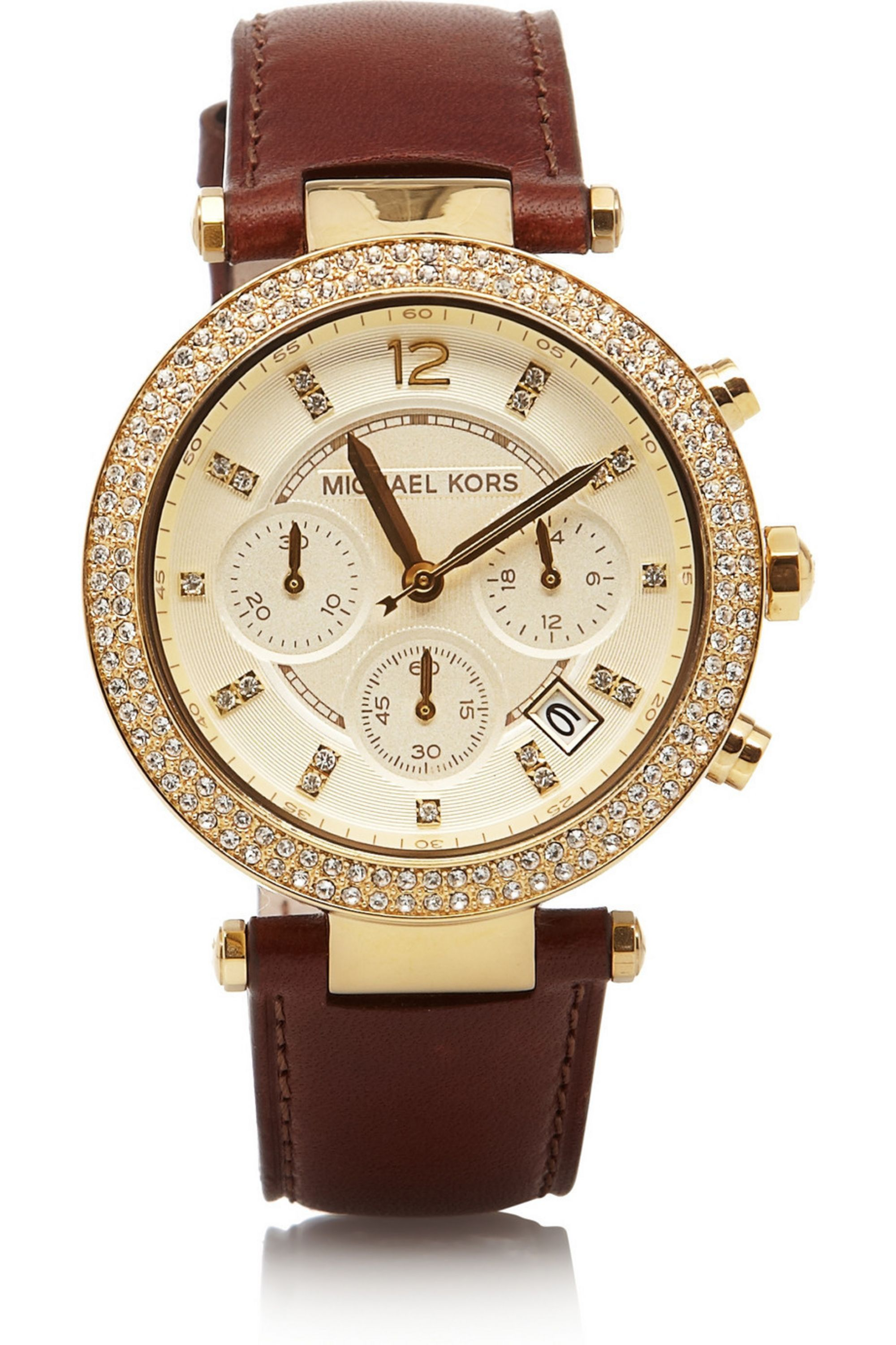Michael Kors Leather, stainless steel and crystal chronograph watch