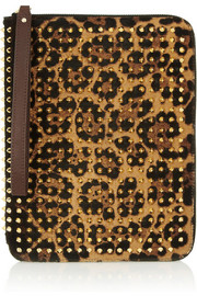 Christian Louboutin Cris spiked leopard-print calf hair iPad case