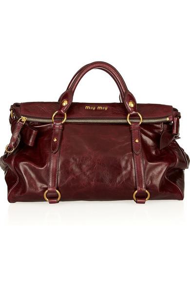 Miu Miu Bow Embellished Glossed Leather Tote