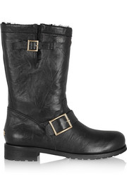 Rabbit-lined leather biker boots