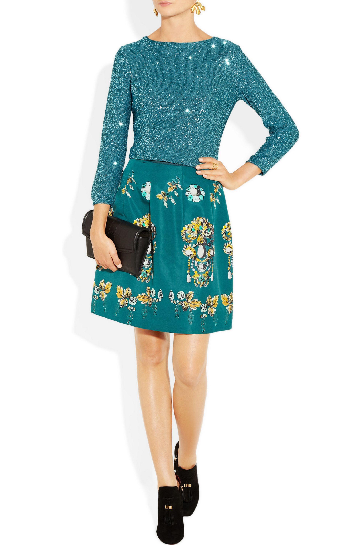 Oscar de la Renta Sequined silk-blend sweater