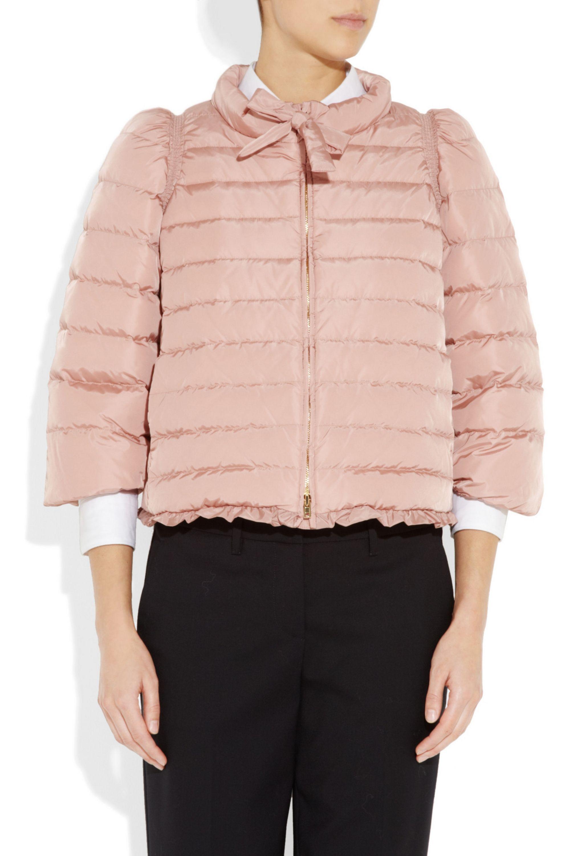 Miu Miu Bow-neck quilted shell coat