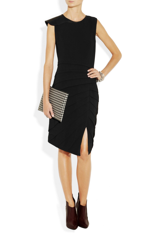 rag & bone Origami leather-detailed crepe dress