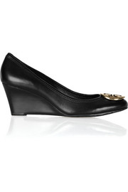Sally leather wedge pumps