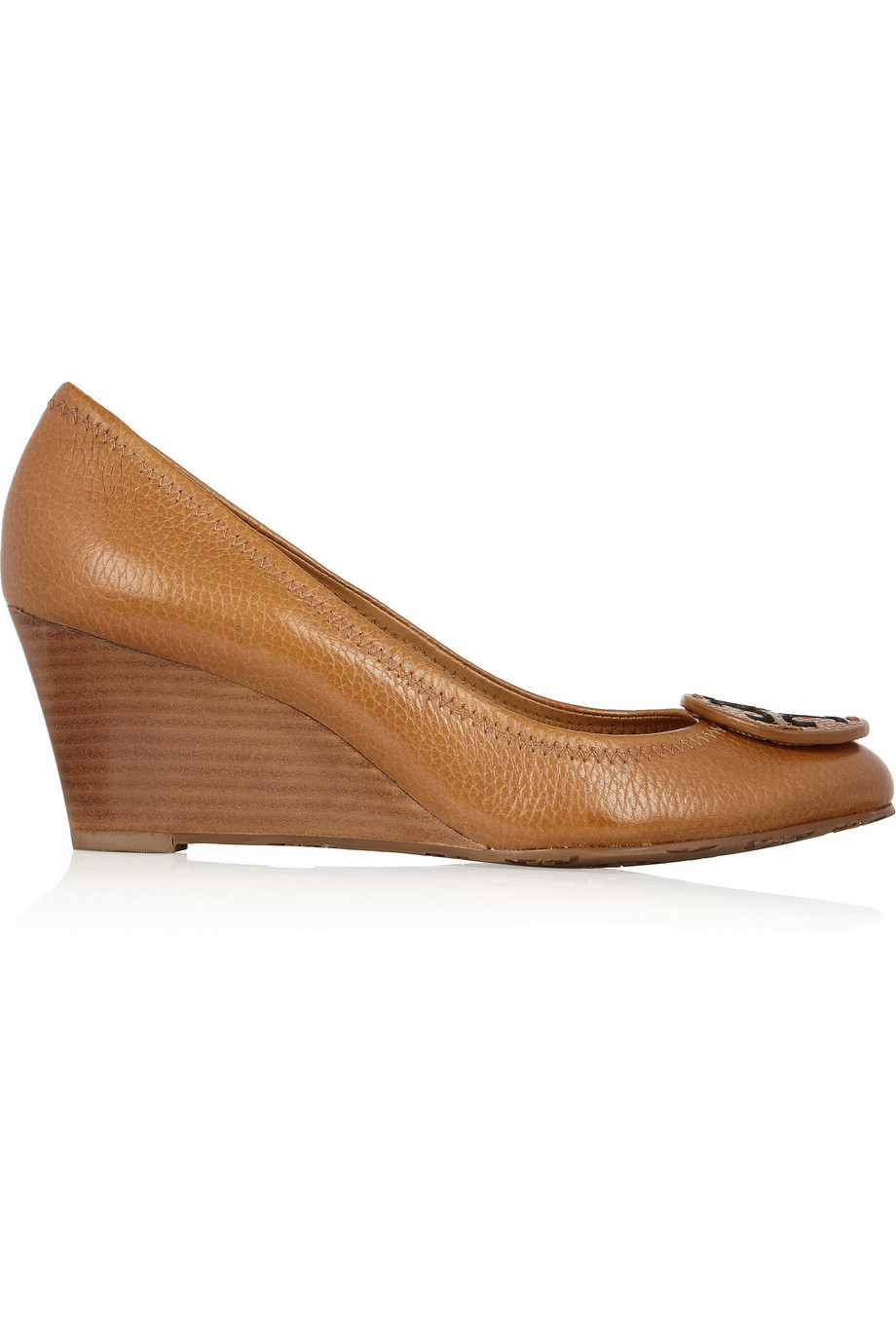 Tory Burch Sally Leather Wedge Pumps, Camel, Women's, Size: 11