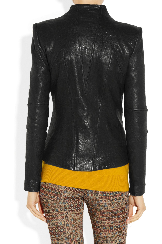 Helmut Lang Paneled distressed-leather jacket