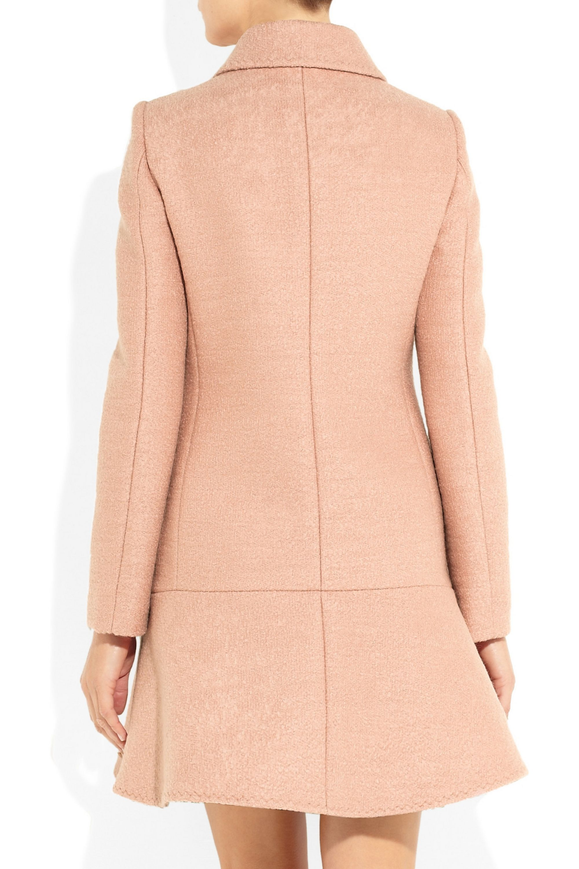 Boutique Moschino Flared bouclé-wool peacoat