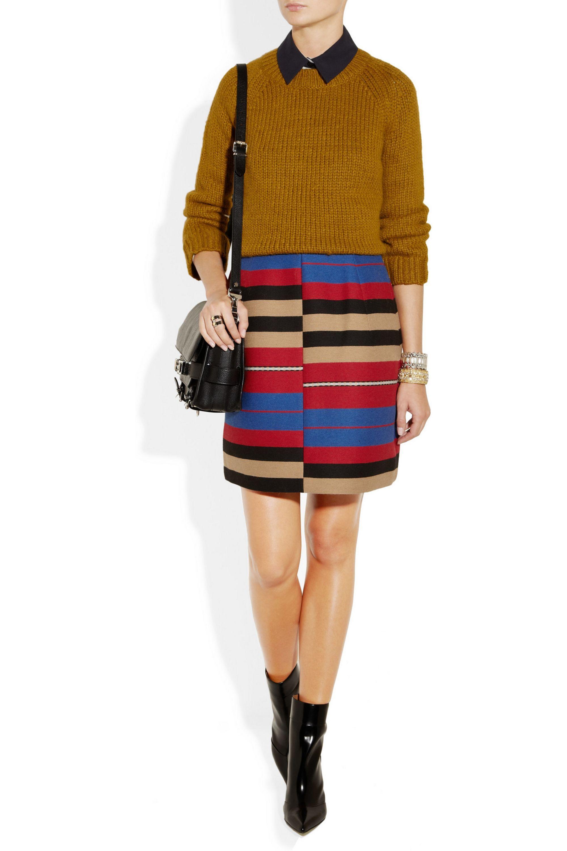 Carven Striped woven mini skirt