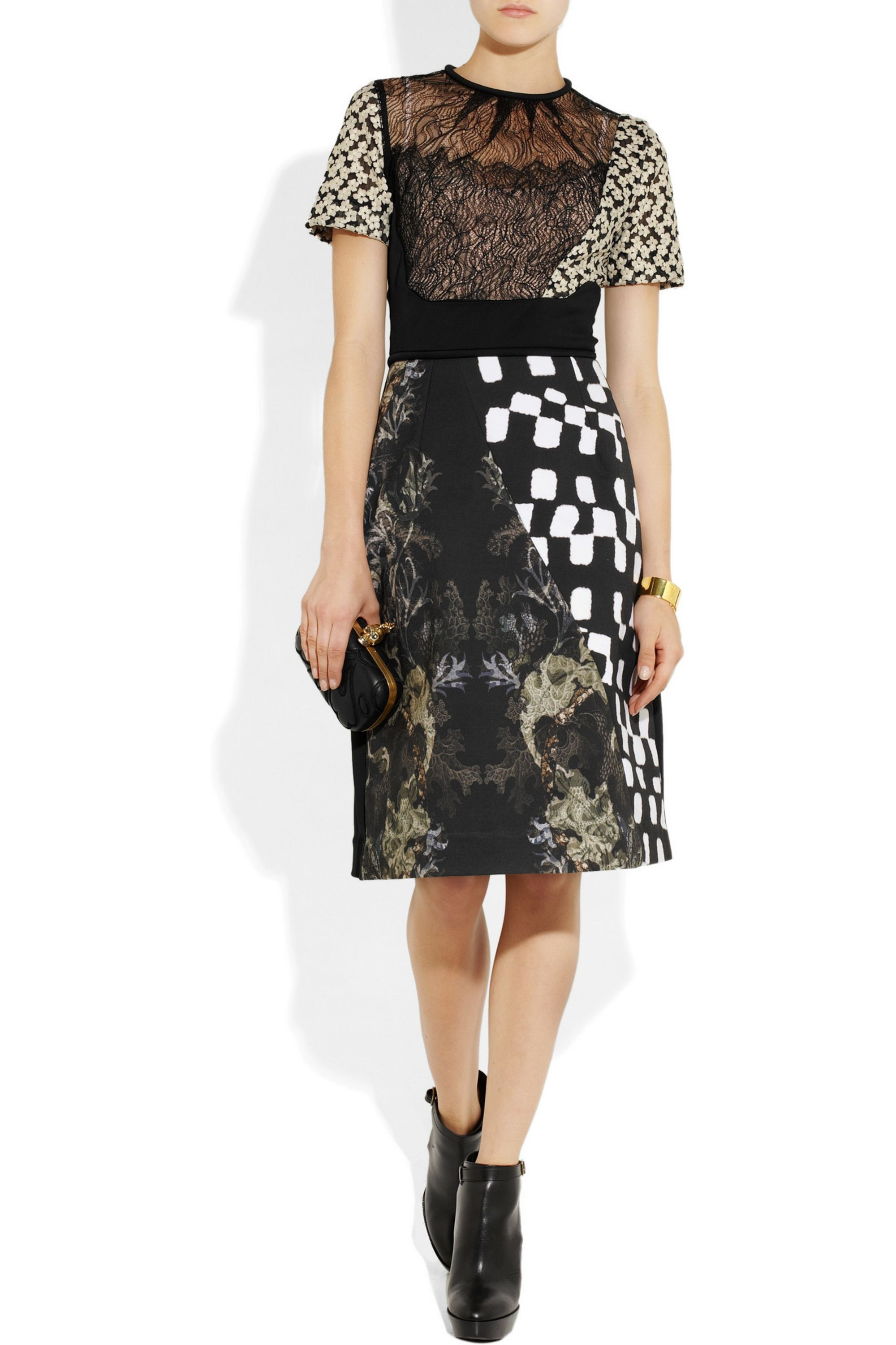 Preen by Thornton Bregazzi Morelle lace and printed stretch-jersey dress