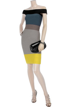 Hervé Léger Color block bandage dress