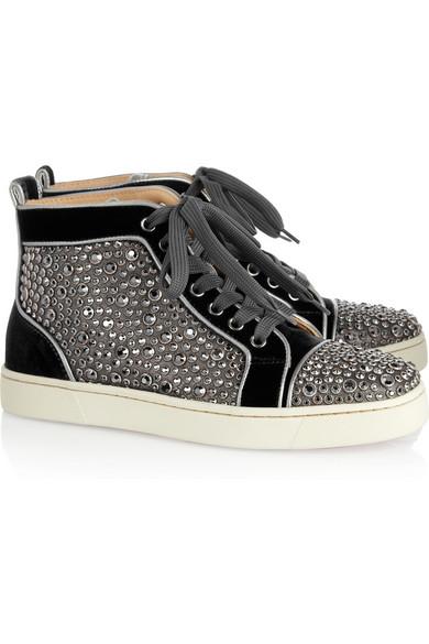 newest 4a57e a7ec0 Louis Woman Swarovski crystal velvet high-top sneakers