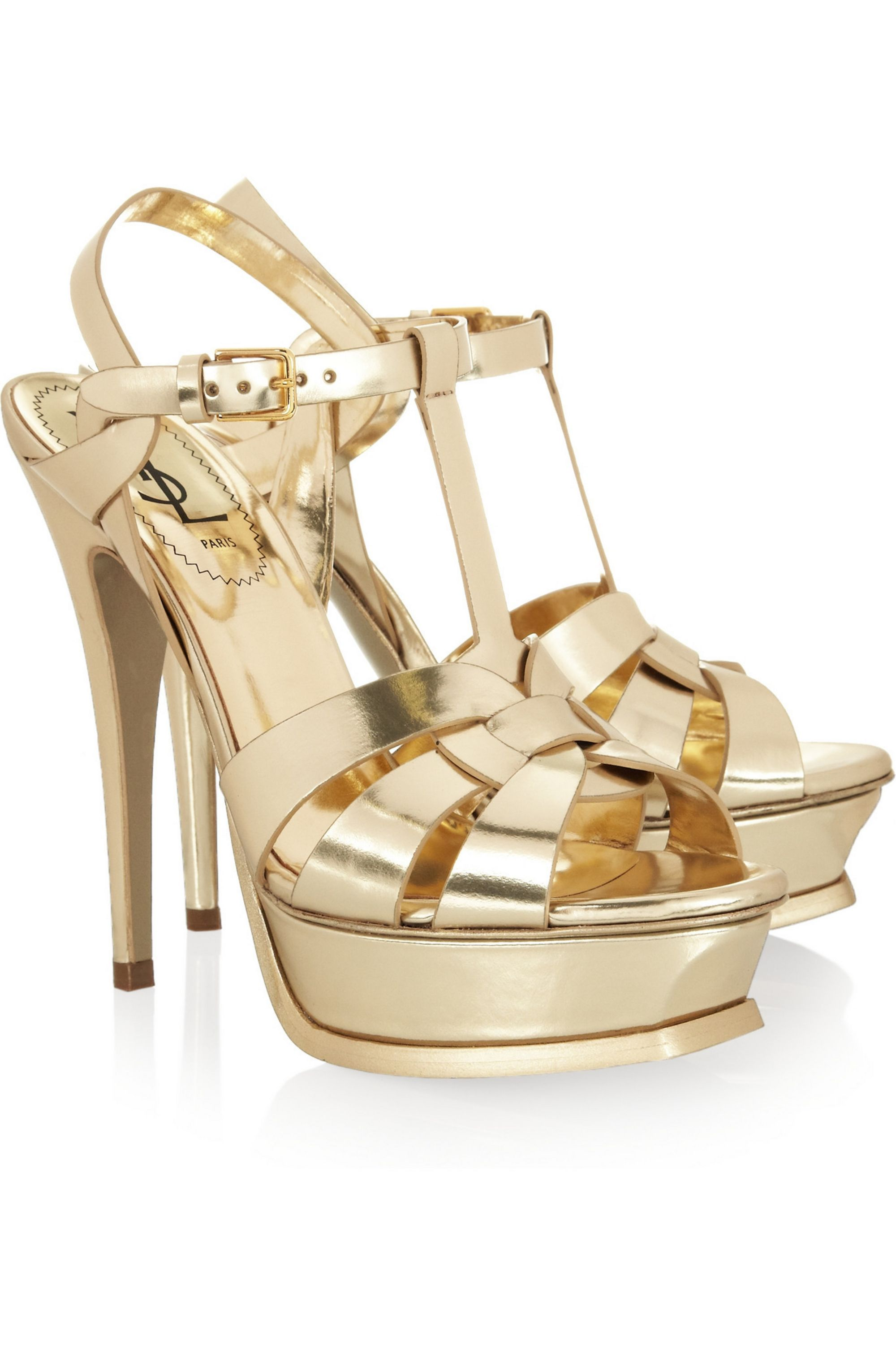 Gold Tribute mirrored-leather sandals