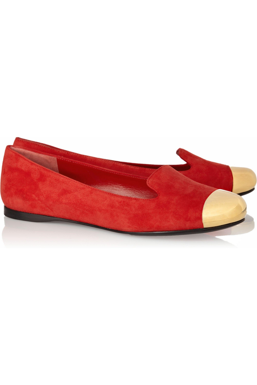 Yves Saint Laurent Evalyn suede and metal loafers