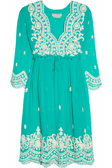 Sale alerts for Aria embroidered silk-chiffon dress Leaves of Grass - Covvet