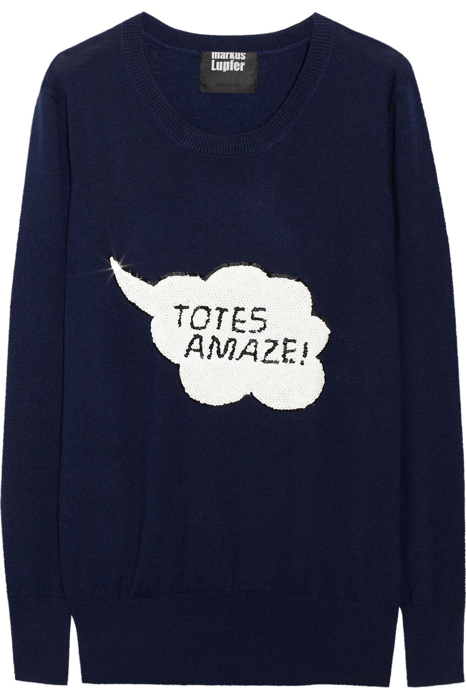 Markus Lupfer Totes Amaze! sequined merino wool sweater