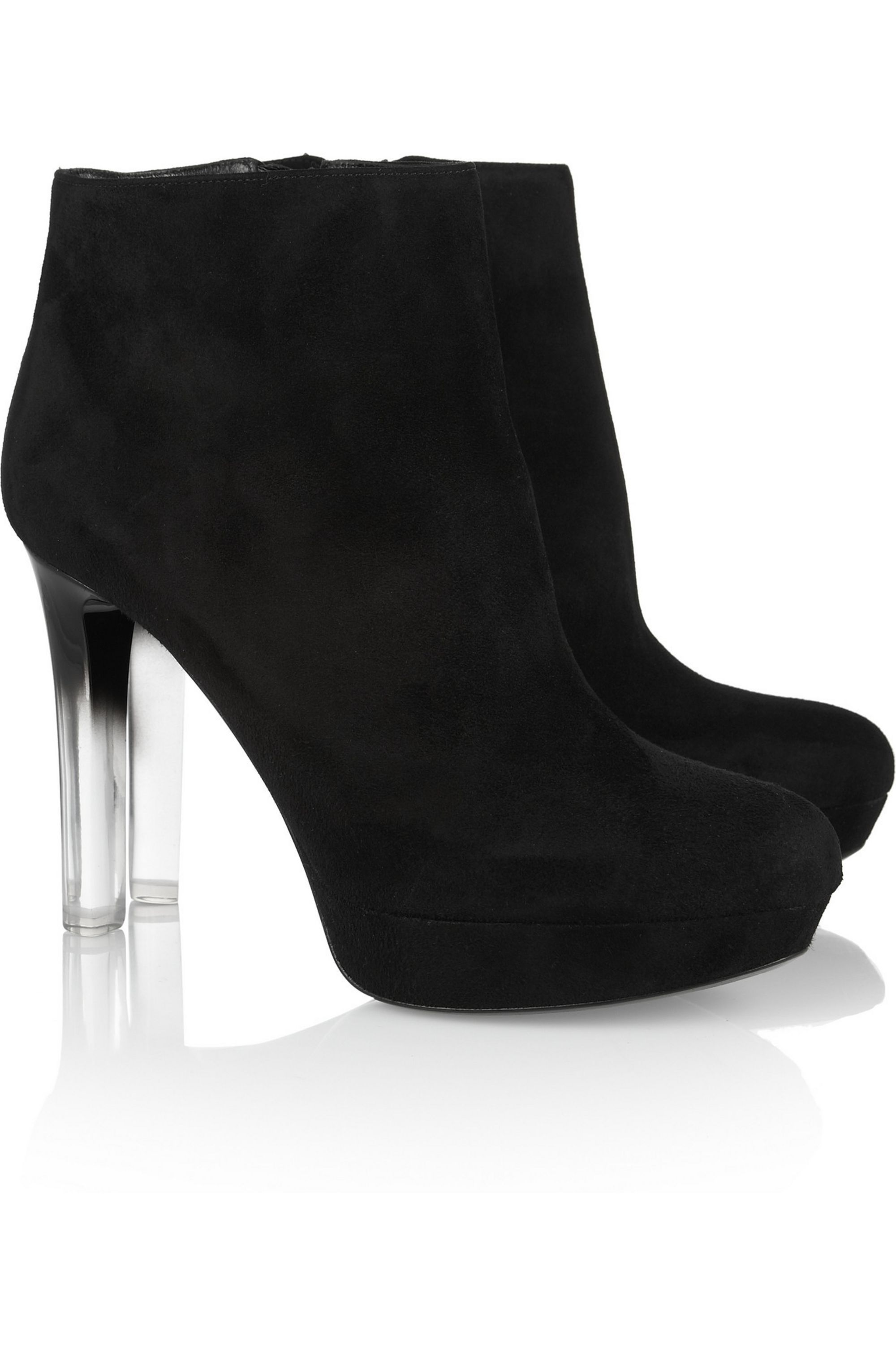 Suede and Perspex ankle boots