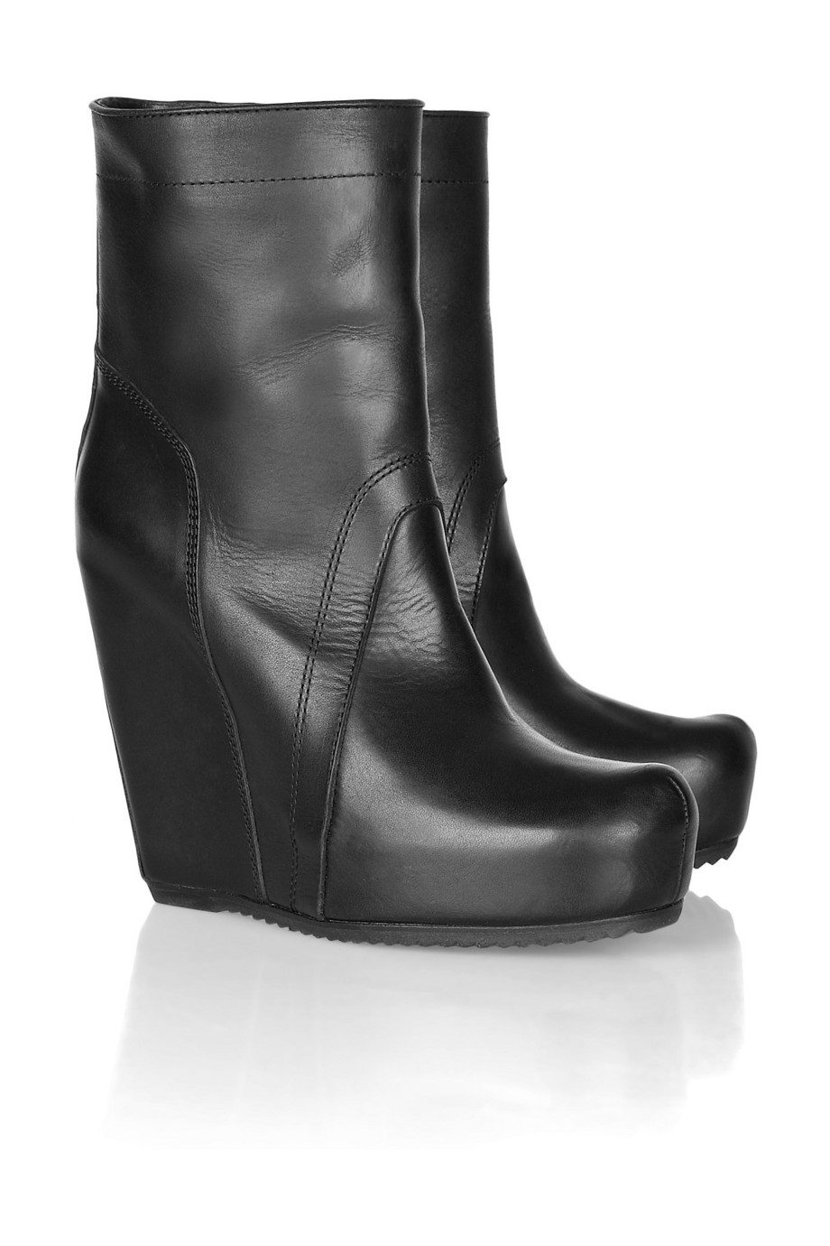 Rick Owens Leather Wedge Boots 100% guaranteed for sale collections sale online free shipping best y1wCy