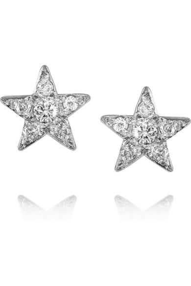 Jennifer Meyer 18 Karat White Gold Diamond Star Earrings