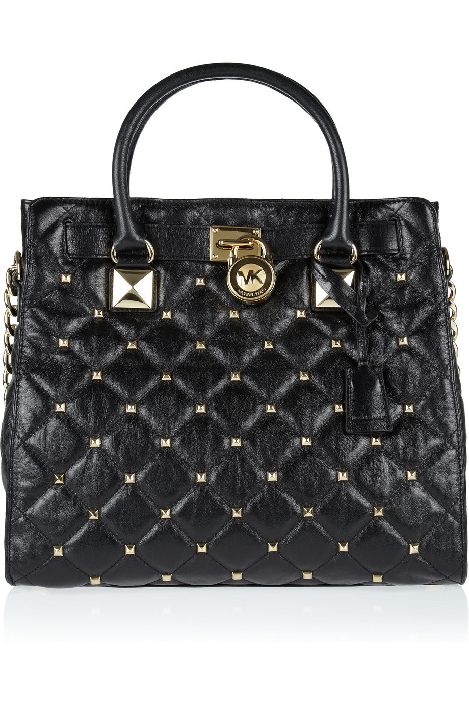 Michael By Michael Kors Hamilton Black Studded Tote Shoulder Bag 78
