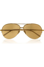 Linda Farrow Aviator-style gold-plated sunglasses