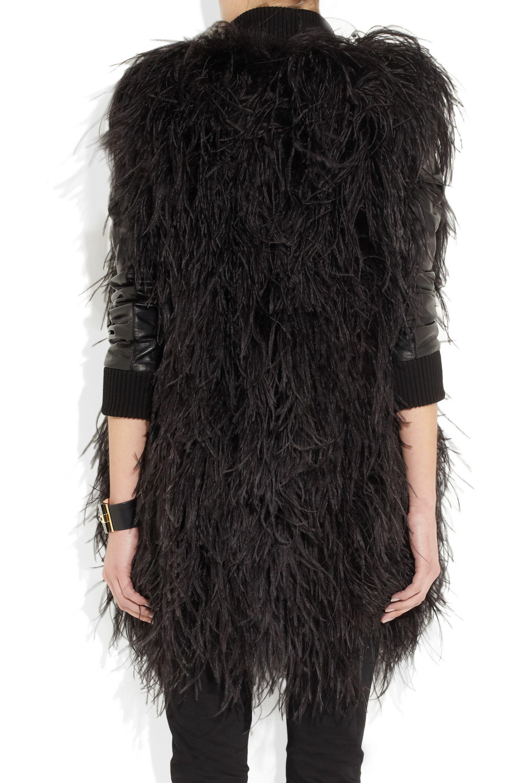 Maison Margiela Feather and leather coat