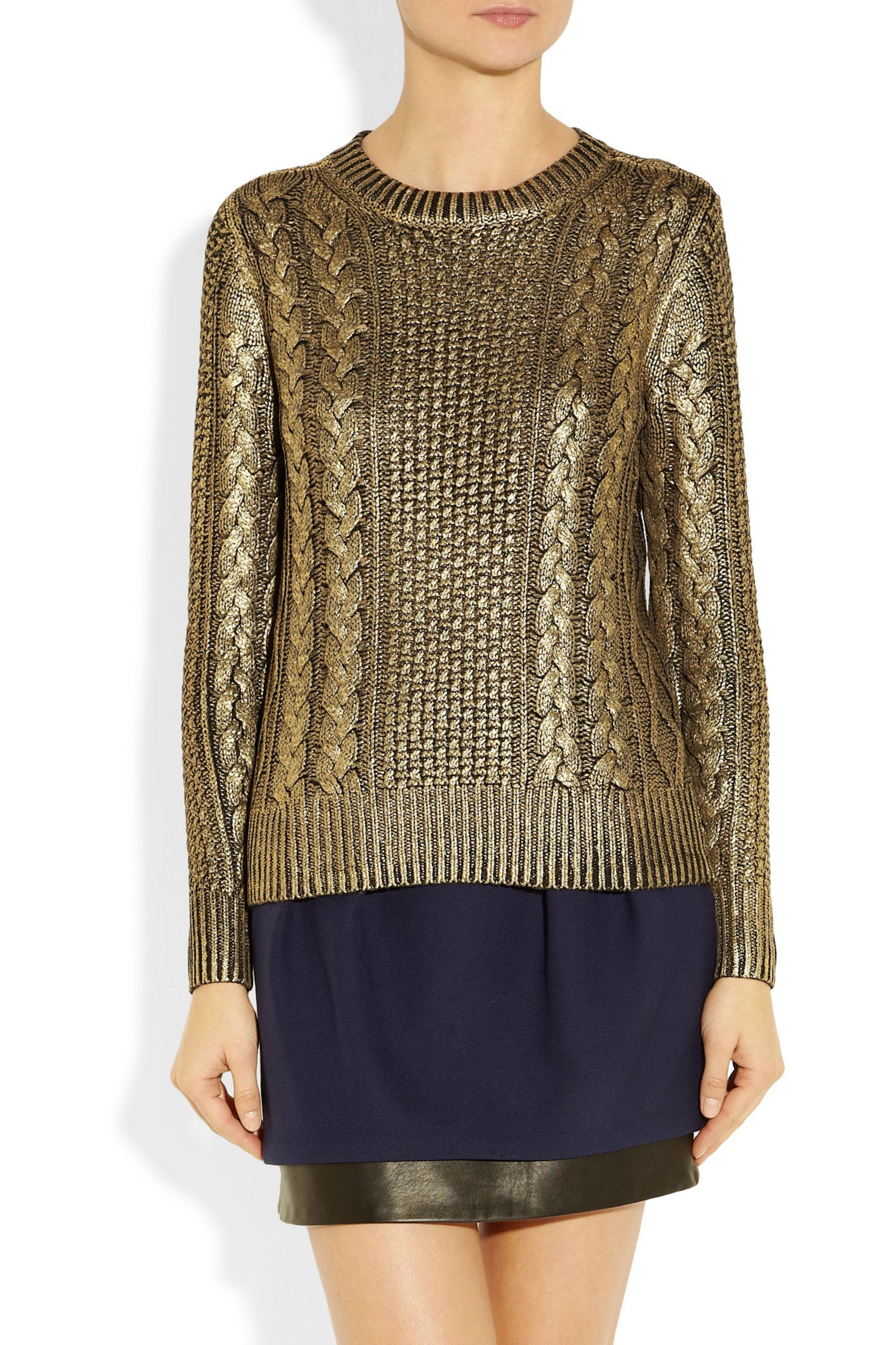 MICHAEL Michael Kors Metallic-coated cable-knit sweater