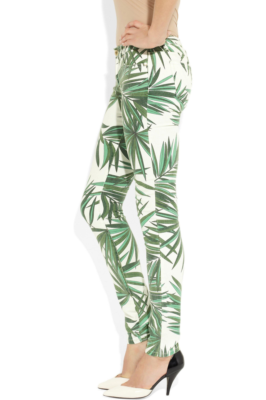 MICHAEL Michael Kors Palm-print mid-rise skinny jeans
