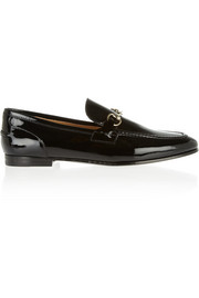 Horsebit-detailed patent-leather loafers