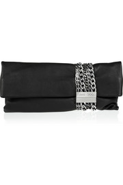 Jimmy Choo Chandra chain-embellished leather clutch
