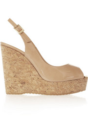 Prova patent-leather and cork wedge slingbacks