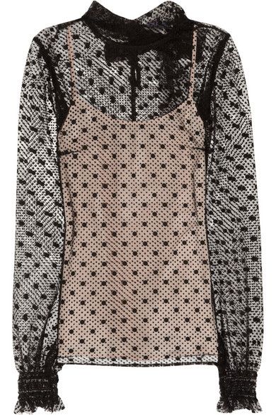 4dc9db3f21a2c1 REDValentino | Polka-dot tulle blouse | NET-A-PORTER.COM