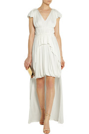 Philotes pleated stretch-crepe gown