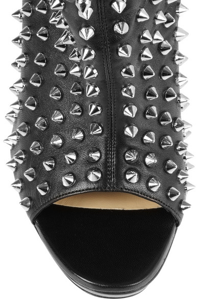 christian louboutin studded leather ankle boots