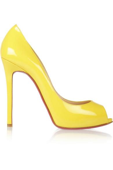 christian louboutin yellow patent leather pumps