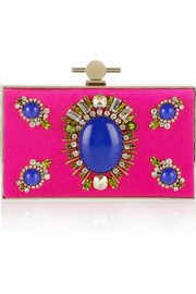 Jason Wu Karlie crystal and stone-embellished satin box clutch