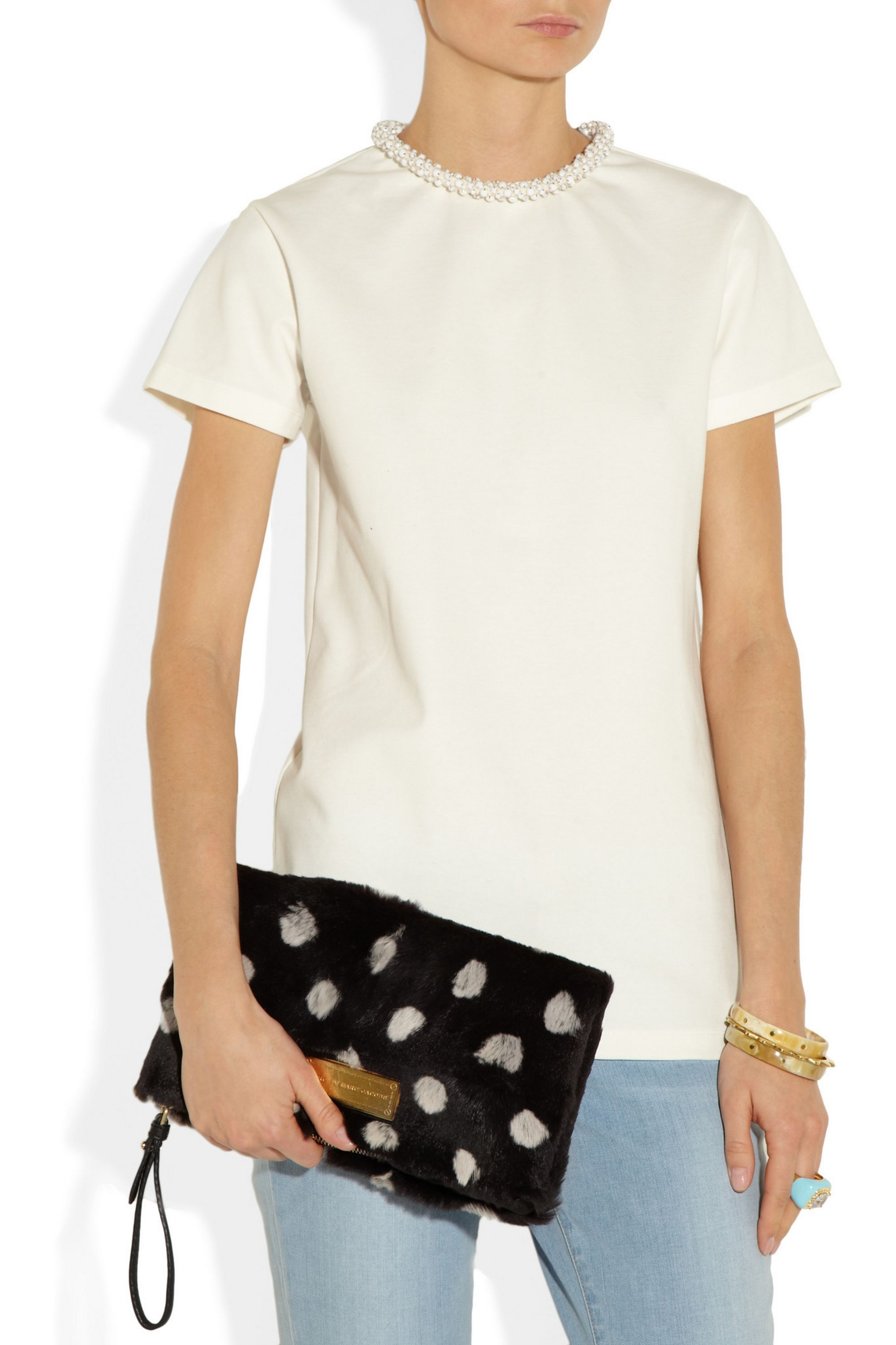 Marc by Marc Jacobs Too Hot To Party polka-dot rabbit and leather clutch